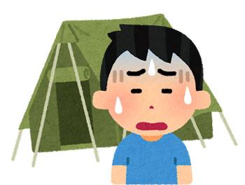 イラスト/設営が難しいキャンプテントのイメージ