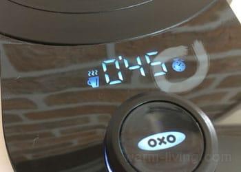 oxoカフェケトル電源台に表示される動作アイコン「保温」