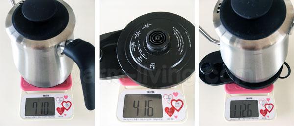 OXOカフェケトルの重さ(本体、電源台、すべて、の3種類の重さを計量器で量る)