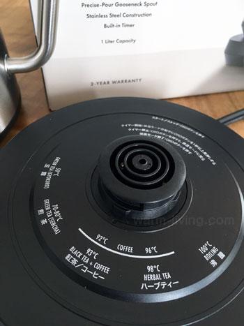 oxoカフェケトル電源台に印字された温度目安