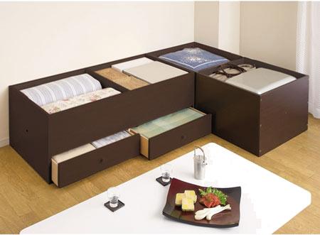 高床式ユニット畳の側面引出しタイプ