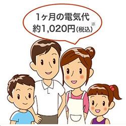 「1か月の電気代約1020円」をつぶやく家族4人のイラスト